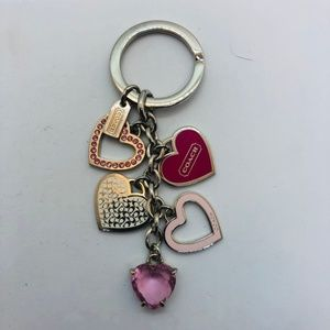Coach Pink Hearts Silver Keychain. Never Used!